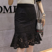 Fashion 2019 Elegant Women Skirt High Quality Lace Skirt Vintage Style Sweet High Waist Pencil Mermaid Skirt Ladies
