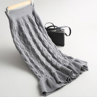 Autumn Women  Knitted trumpet Skirt Vintage High Waist Women Long Mermaid Skirt High Elastic Warm Ladies