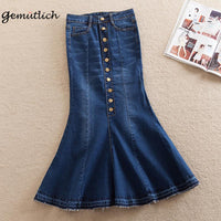 GEMUTLICH Plus Size XS-8XL Women Denim Trumpet Mermaid Skirt Spring Autumn Jeans Bodycon Ankle Long Skirts Button
