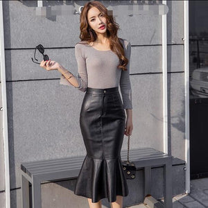 2019 Autumn Winter Vintage PU leather Skirt package skirt women DF606
