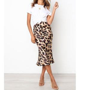 Leopard Print Long Mermaid Skirt Female Venlilulu Women Sexy Skirts Sexy Maxi Skirt Bodycon Slim Long Vintage Skirt Leopard 40