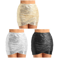 Women Lady Shiny Sequins Short Ruched Tulip Hem Bodycon Mini Dress Party Clubwear Formal Occasion Hip Skirt Stage Dance Costumes