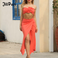 JillPeri Women Front Twist Strapless Crop Top and Skirt 2 Piece Set High Waist Stretch Crepe Tulip Skirt Party Club Sexy Outfit