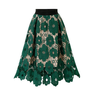 Womens Crotch Lace Knee Length Ladies Soft Stretch Flared Printed Skater Skirt fashion high waisted Princess Skirts travel Mar 9