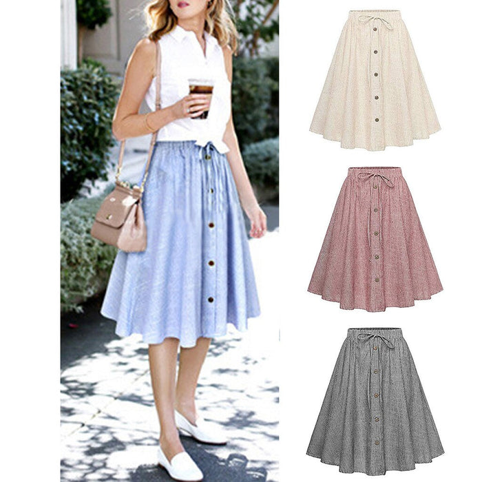 Women Stripe Single-breasted Lace High Waist Plain Skater Flared Skirt