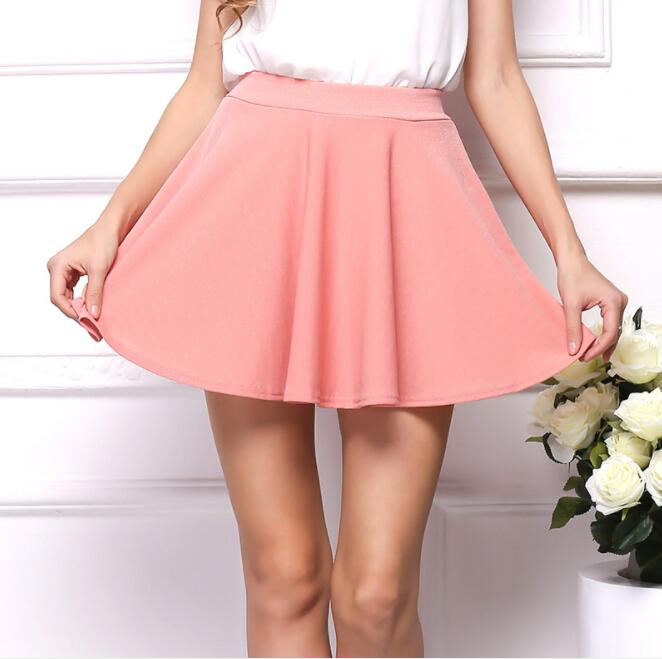 Summer korean Pleated skirt sexy Skirt for Girls lady Short Skater women mini Skirt Elastic Strechy Bottoms