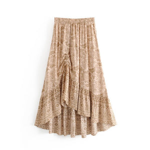 AOEMQ Fashion Skirts Exotic India Fairy Draped A-Line Elastic Skirts Floral Print Long Skirts with Tassel