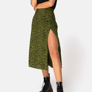 Ladies Womens Skirts High Waist Green Leopard Print Holiday Summer Skirts Streetwear Club Party Beach Midi Split Skirt
