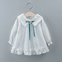2019 Autumn Kids Sweet Mesh Dress Girl Dresses Children Long Sleeve Princess Dress Polka Dot Baby Girls Casual Clothes