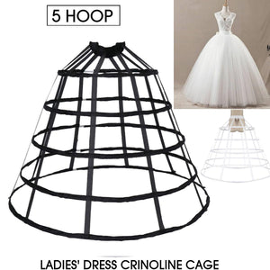 Cosplay Elastic Waistband Adjustable Pannier Petticoat White Black 5 Hoop Cage Skirt Wedding Bridal Crinoline