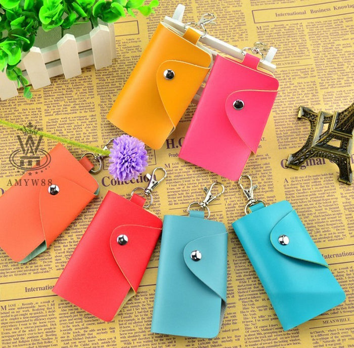 Hot Sale Fashion New Key Wallets Solid Pattern Men Women Double Big Capacity Keys Holders With KeyChain Package Wholesale Price