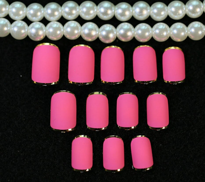 Classic French False Nails Full Cover Fashion Adhesive Metallic Fake Nail Art Tips Sexy Straight Stick Fake Nail Tips Full Cover