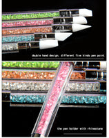 1set/lot 2 Way Nail Art Brush Set with Rhinestone 5pcs Silicone Carving Craft Sculpture Pen