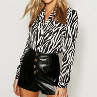 Women's Animal Print Long Sleeve Shirts Vintage Zebra Pattern Casual Ladies Blouse