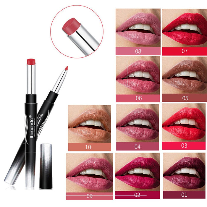 Double-end Lipstick Lip Liner Multi-function Makeup Matte Lasting Moisturizing