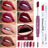 CmaaDu 1pc Multi-functional Double-heads Lip Liner Waterproof Long-lasting Non-stick Lipstick 6 Colors Available Cosmetic Makeup