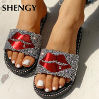 2019 New Women Slippers Summer Red Lips Rhinestone Fashion Female Shoes Wear Non-slip Casual Trend Ladies Sandals Outdoor Home