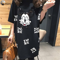 Women Mickey Mouse Dress Cartoon Mini Short Sleeve Summer Loose Midi Dresses Big Size Vestidos Black Mujer Clothes Pregnant