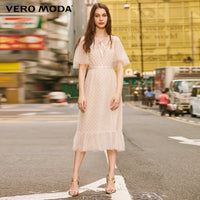 Vero Moda  Women's 2019 Vintage Flocking Polka Dots Laced Gauzy Dress