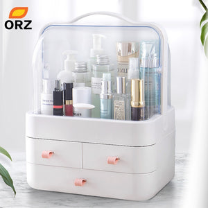 ORZ Cosmetic Makeup Organizer Storage Box Nail Polish Organizer Holder Display Make up Caddy Dressing Table Jewelry Boxes