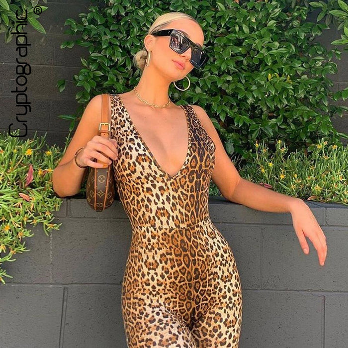 Cryptographic Sexy Deep V-Neck Sleeveless Leopard Rompers Womens Jumpsuit