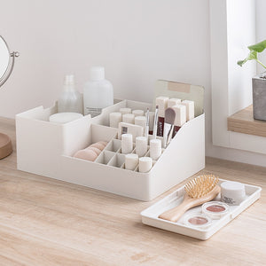 Multi Grid Cosmetic Makeup Organizer With Lid Jewelry Lipstick Brush Display Necklace Earrings Bracelet Storage Case Accessories