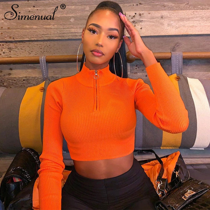 Simenual Neon Color Ribbed Fashion Women Crop Top Long Sleeve