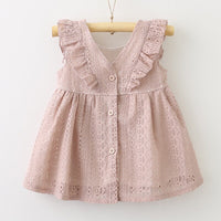 Pink Dress Summer Baby Dress Sleeveless V-Neck dress Children Infant Kid Girls Lace Ruffles Princess Button Hollow Dress Clothes