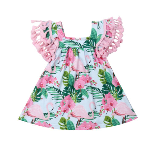girls summer dress	Toddler Baby Girls Dress Boho Flamingo Party Dresses Tassel Sleeve DressClothes