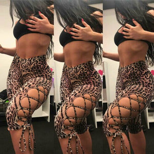 2019 New Womens Ladies Sexy Animal Leopard Print Leggings Trousers Hollow Out Slim