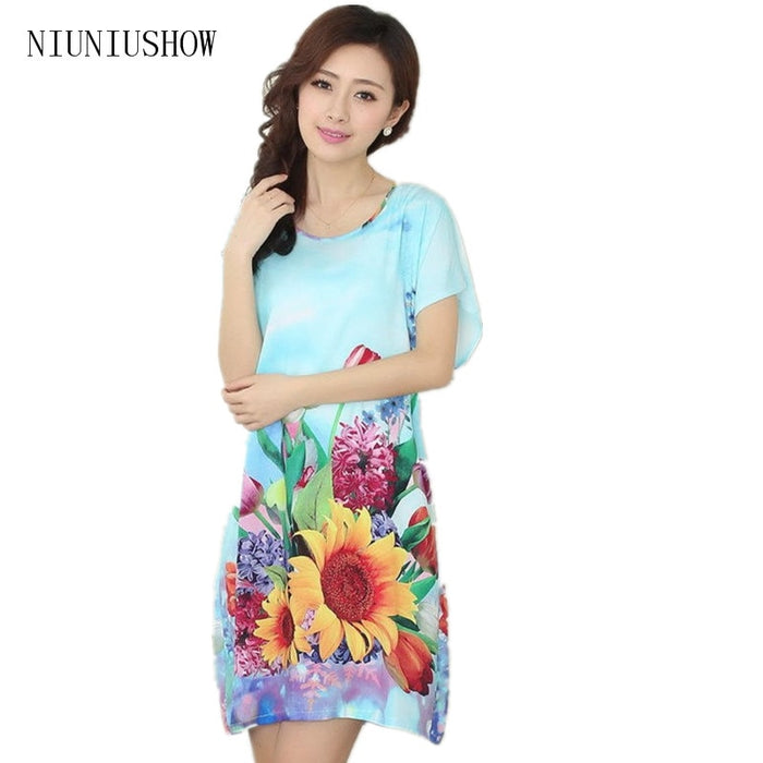 Stylish Women Cotton Home Dress Summer Lounge Robe Nightwear Flower Sleepwear Short Sleeve Nightdress One Size TB003