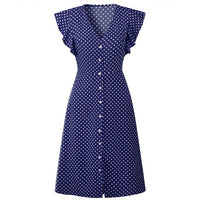 Women V Neck Ruffle Sleeve Fabala Front Button Holiday Polka Dot Ladies Casual