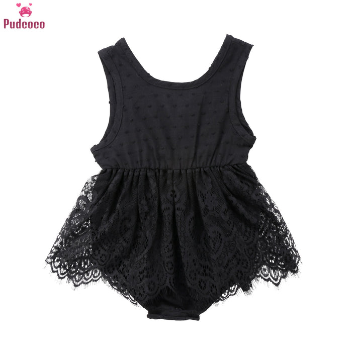 Fashion Newborn Romper Baby Girl Dress Infant Black Lace Ruffle Tutu Bodysuits Baby Princess Summer Dress 0-18M