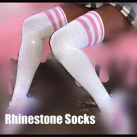 Women Socks Cotton Socks Rhinestones Bling thigh high Socks Japanese Women School Cospaly Hiphop Hipster Medias Long Socks SW066