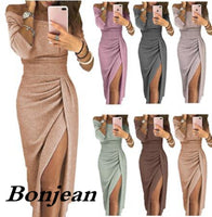 Off Shoulder Party Gown Dress Women High Slit Peplum Dress Three Quarter Sleeve