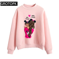 Mickey Super Mom and Baby Kawaii Letter Prints Long Sleeve Hoodies Women Sweatshirt Tops Fashion