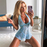 Sexy Women Lady Halter Backless V neck Lace Lingerie Nightwear Underwear Babydoll Sleepwear Mini Micro Dress