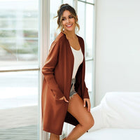 Autumn Fashion Knitted Pockets Cardigan Women Oversized Solid Long Cardigan