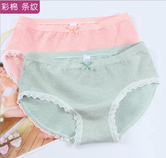 Free Shipping new product stripe color  seamless collection lace underwear of the super elastic cotton free Size M L XL