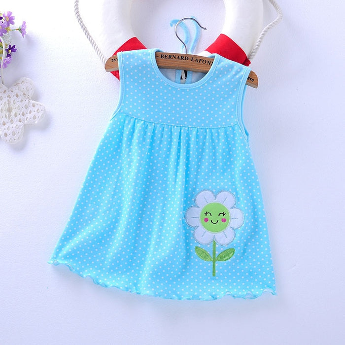2018 Summer Baby Girl Infant Dress Dots Flowers Baby Dress Animal Pattern Embroidery Hot Summer Baby Dress Low Price Dresses