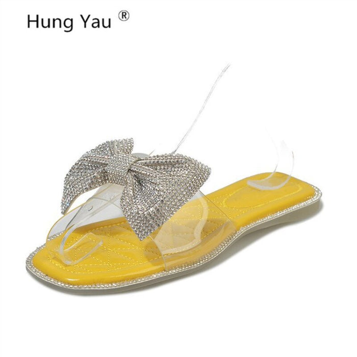 Shoes For Women Sandals Transparent bow-knot Bling Slippers Flip Flops Summer Casual Shoes Woman Flats Female Blue Slides Ladies