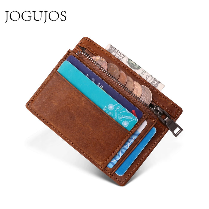 JOGUJOS Genuine Leather Men Credit ID Card Holder RFID Coin Purse Card Holder Wallet Money Case Men Small Wallet Male Portomonee