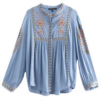 Style Embroidered Blouse 2018 Women's Long Sleeve Boutique Elegant