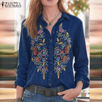 Embroidered Denim Blue Shirts Casual Lapel Neck Floral Blouse Long Sleeve Top