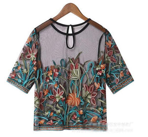 Summer New In Flowers Embroidered Tulle Short Blouse Women's Transparent Tops