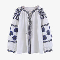 Neck Contrast Color Embroidered Tether Woman Shirt Simple