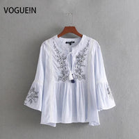 VOGUEIN New Womens Floral Embroidered Striped Tassels Flare Sleeve Blouse Shirt Tops Wholesale
