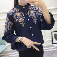 Fashion Flower Embroidered Tops Loose Shirt Embroidery Blouse Women Shirt Blusas