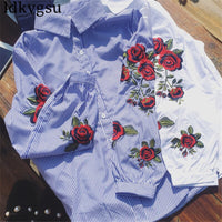 Embroidered Shirt Women's Blouses Long-sleeved Spring Summer Large Size Women