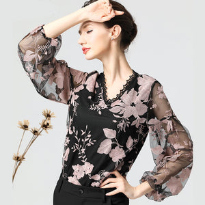 Embroidered Floral Blouse Summer Women Tops Long Sleeve Transparent See Through Chiffon